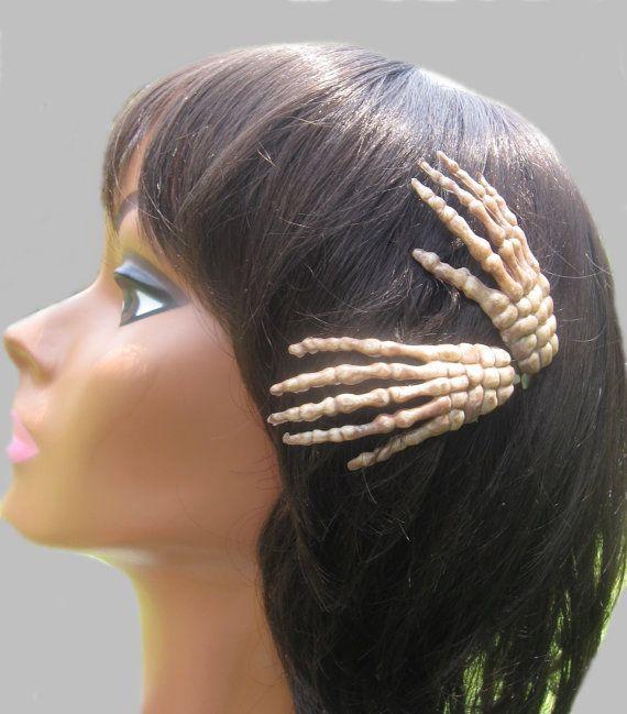 Skeleton Hand Hair Clips Halloween Hair Accessory By Znextdesigns 6 00 Halloween Accessories Hair Halloween Hair Hair Accessories Boho