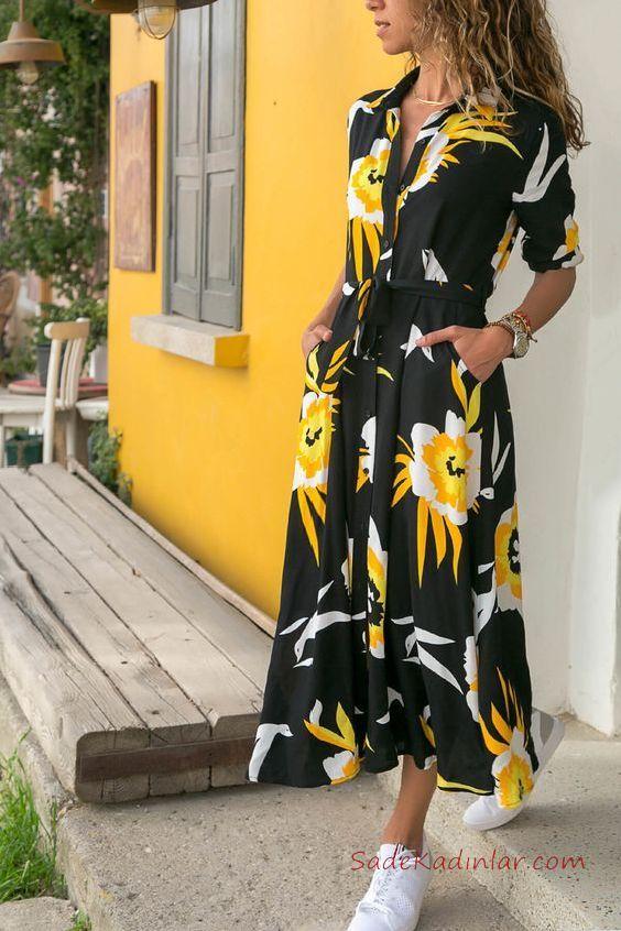 2019 Uzun Elbise Modelleri Siyah Uzun Yakalı Kısa Kol Cepli Desenli