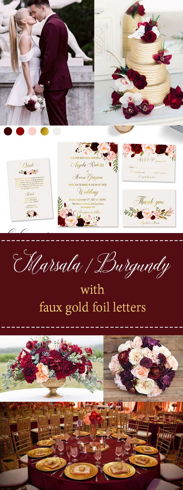 Wedding Invitation Marsala Burgundy Pink Invite Suite Wedding Invite ...