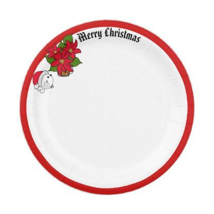 Christmas paper plates  sc 1 st  Pinterest & Santa Bird u0026 Poinsettias Wish Merry Christmas Paper Plate - home ...