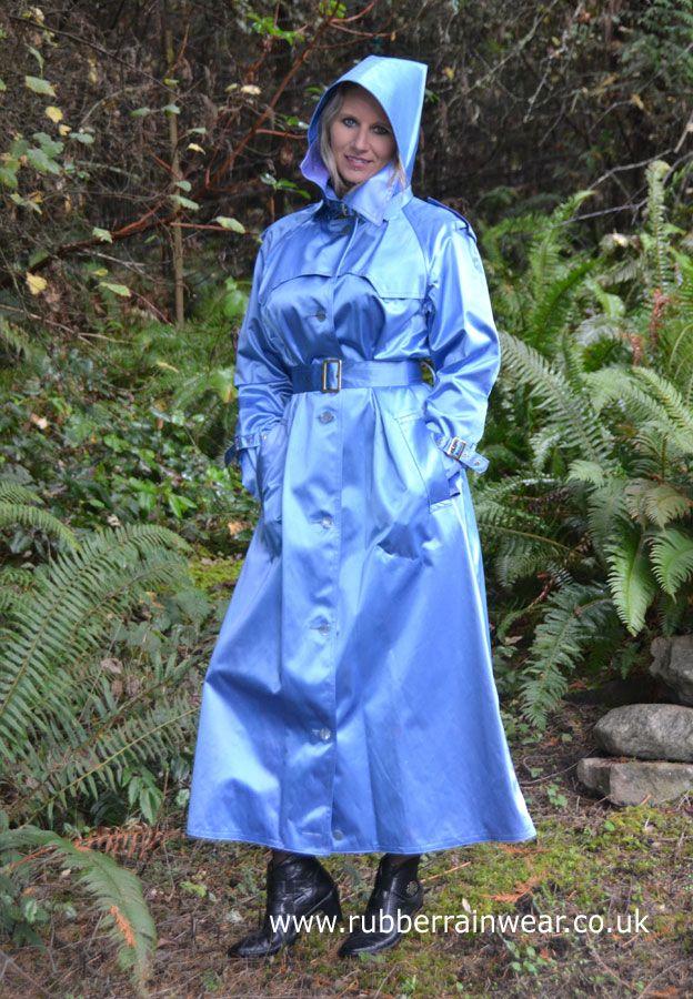 Gorgeous Caroline in her hooded blue satin mack