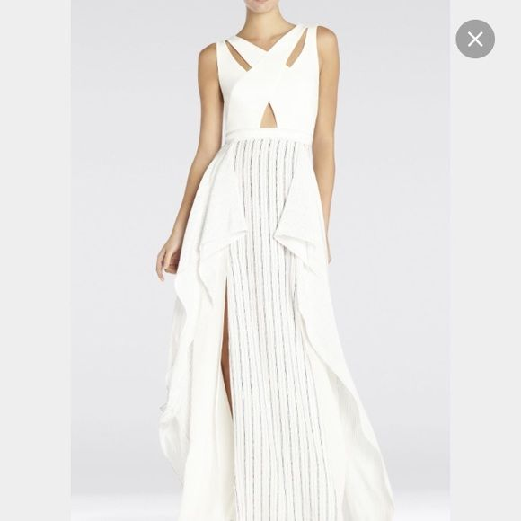 BCBG RUNWAY! Long BCBG dress with cut it front and cool geometric cut out back BCBG Dresses Maxi