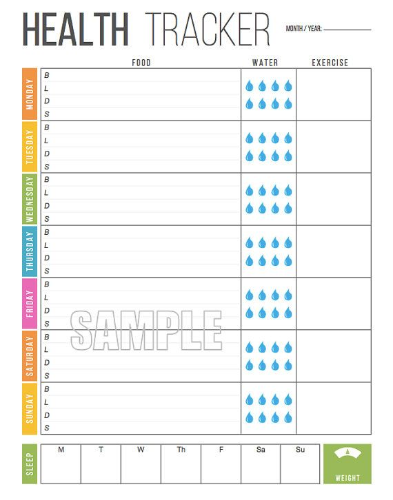 photograph regarding Meal Tracker Printable named Weekly Conditioning Tracker Printable - Foodstuff Tracker, Pounds