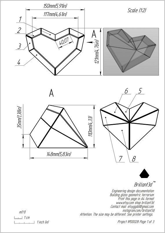 Valentines Day Geometric wedding Glass heart terrarium
