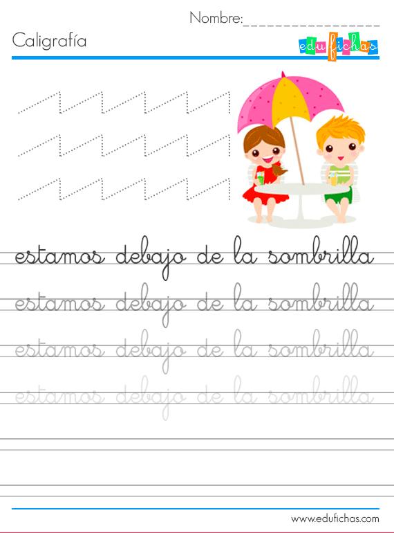 Hojas de caligrafía para verano #caligrafia #infantil #verano ...