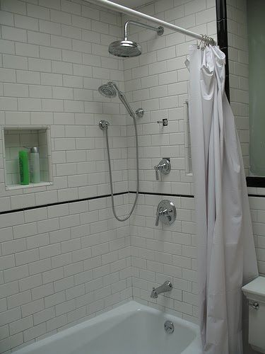 Thin Black Accent Stripe On White Subway Tile Basement