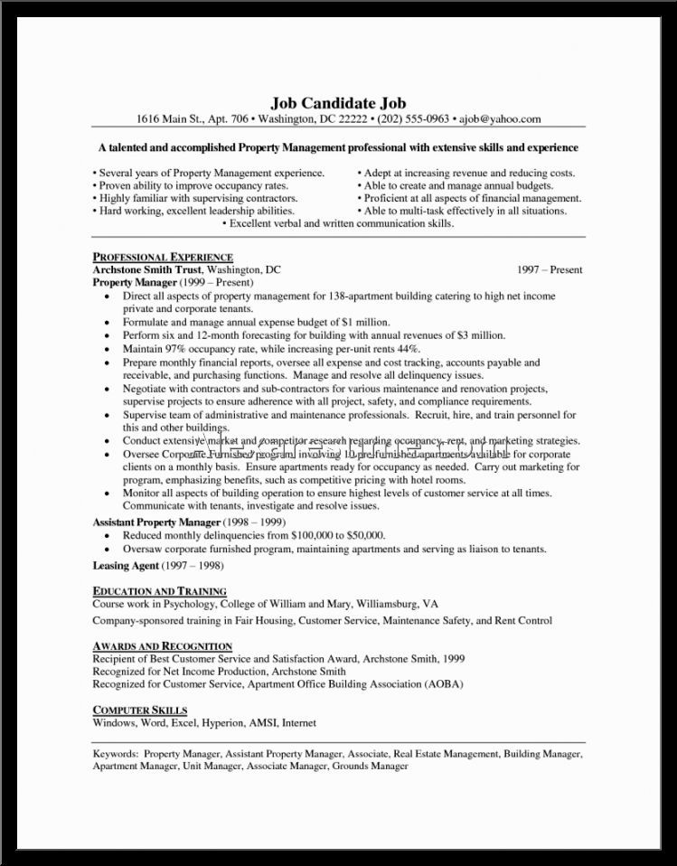 apartment management resume samples property sample manager - assistant property manager resume sample