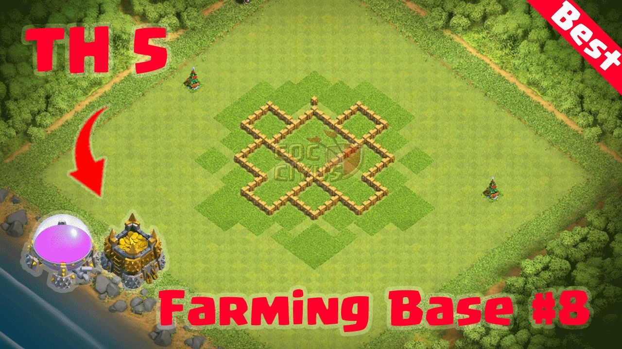 Clash of Clans] : Town Hall 5 Best Defense (CoC TH5 Farming Base Layout...