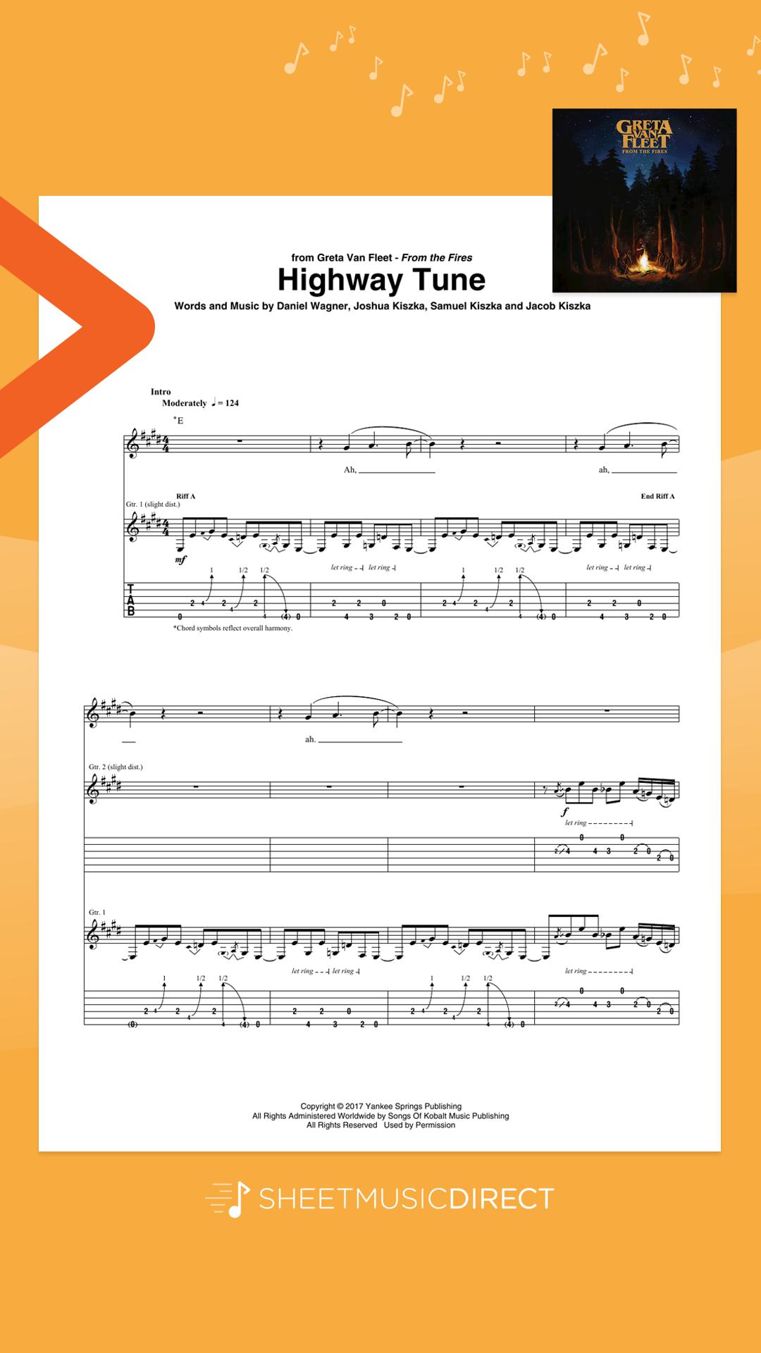 Download Highway Tune Sheet Music By Greta Van Fleet Arranged For Guitar Tab Sheet Music Direct Online Sheet Music Digital Sheet Music