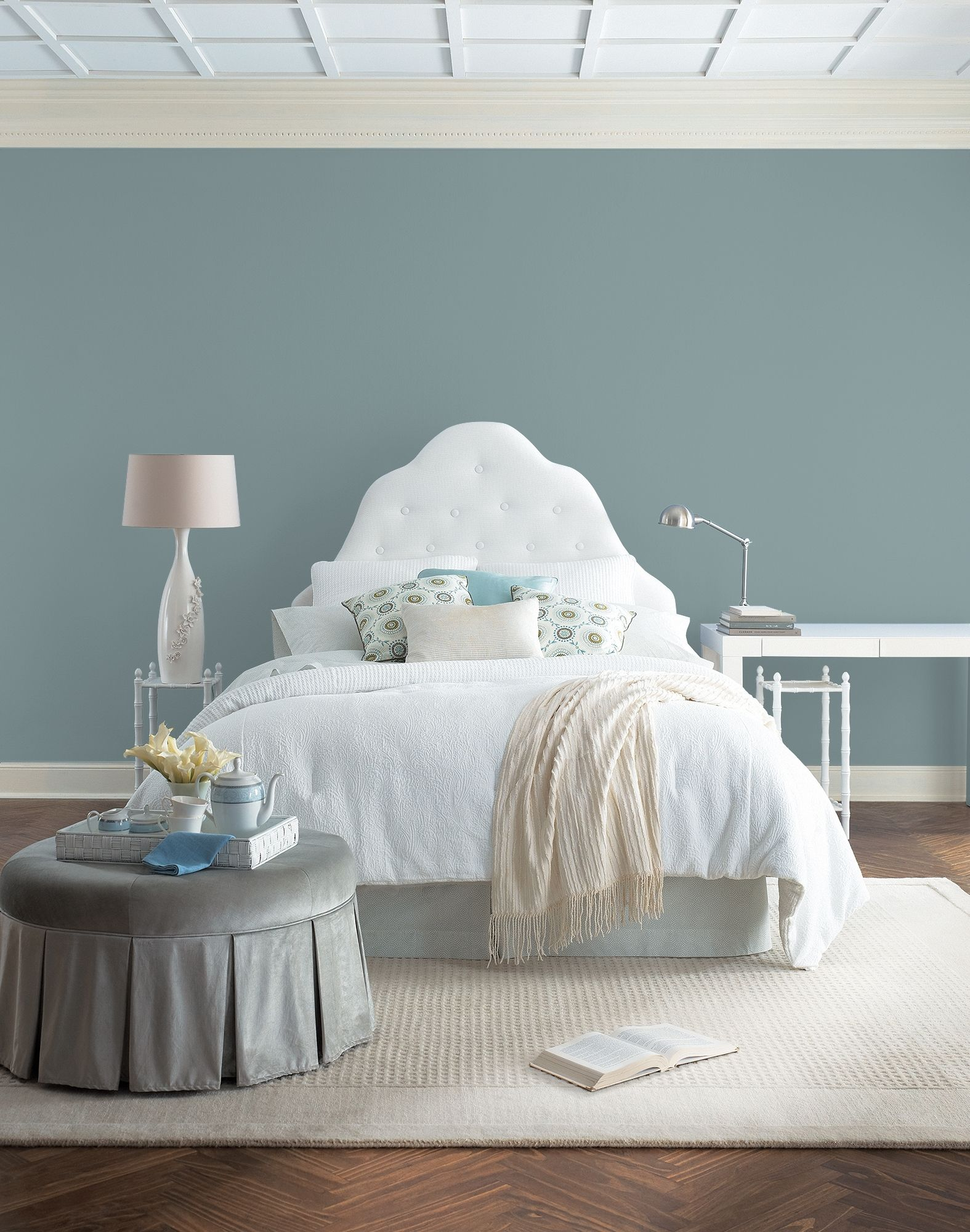 Apply this lovely greyed green into a cozy bedroom. Trim in off