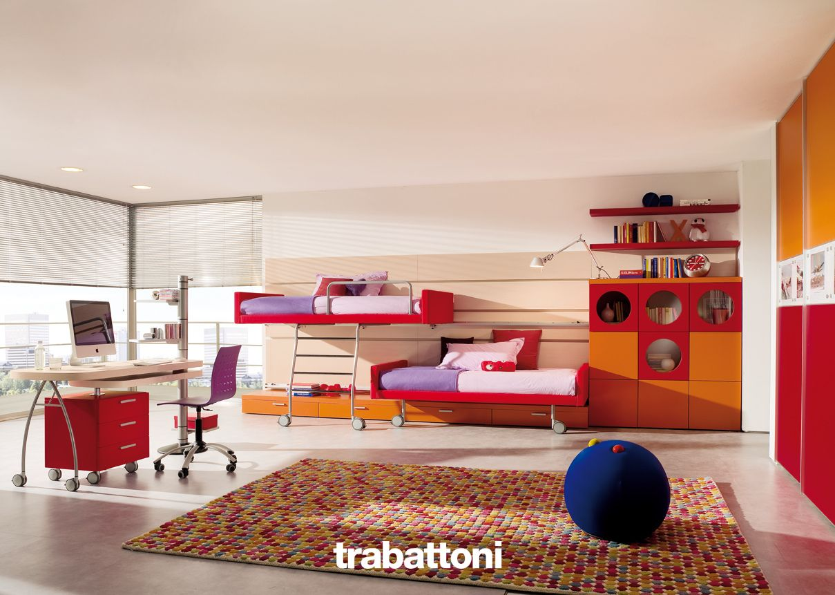 Camera Da Letto Moderna Varese Kids Bedroom With Sliding Upholstered Beds Storage Units And