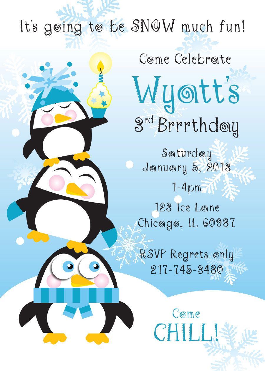Penguin Birthday Party Invitation For