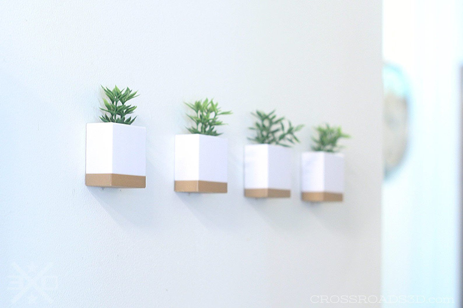 Modern Wall Planter Set Small Indoor Geometric Cube Planters For