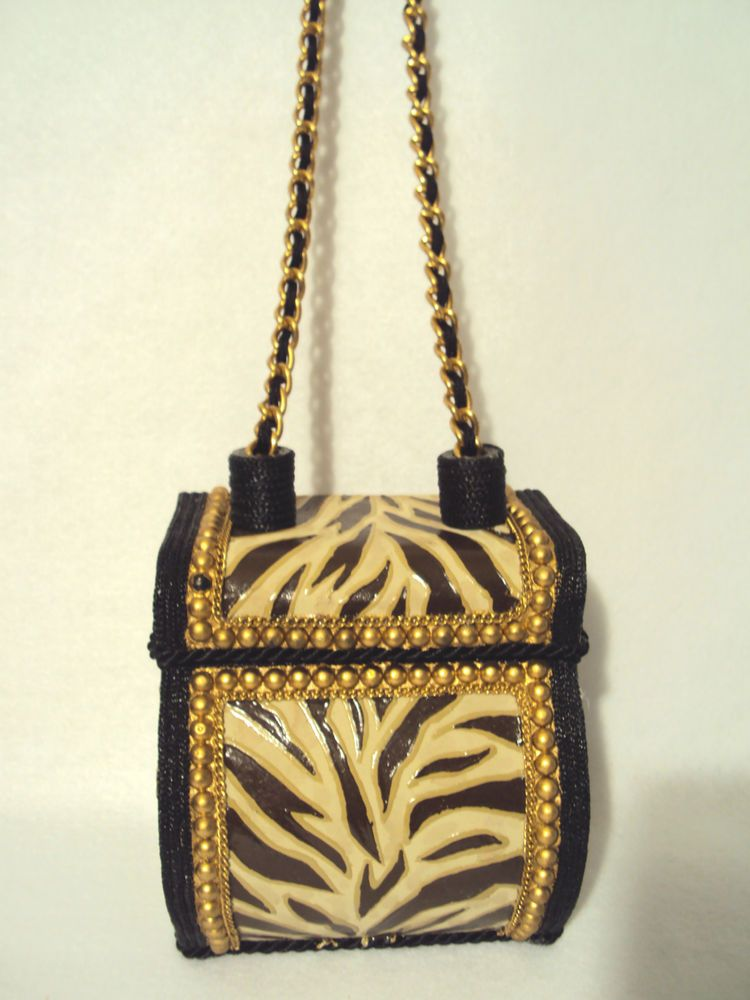 Early MARY FRANCES Box Style Handbag Purse Lid Shoulder Chain Zebra Animal Style #MaryFrances #ShoulderBag