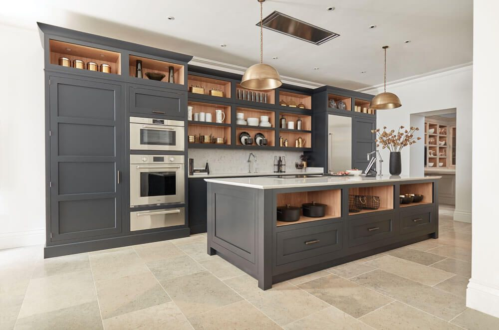 Dark Grey Shaker Style Kitchen #greykitcheninterior