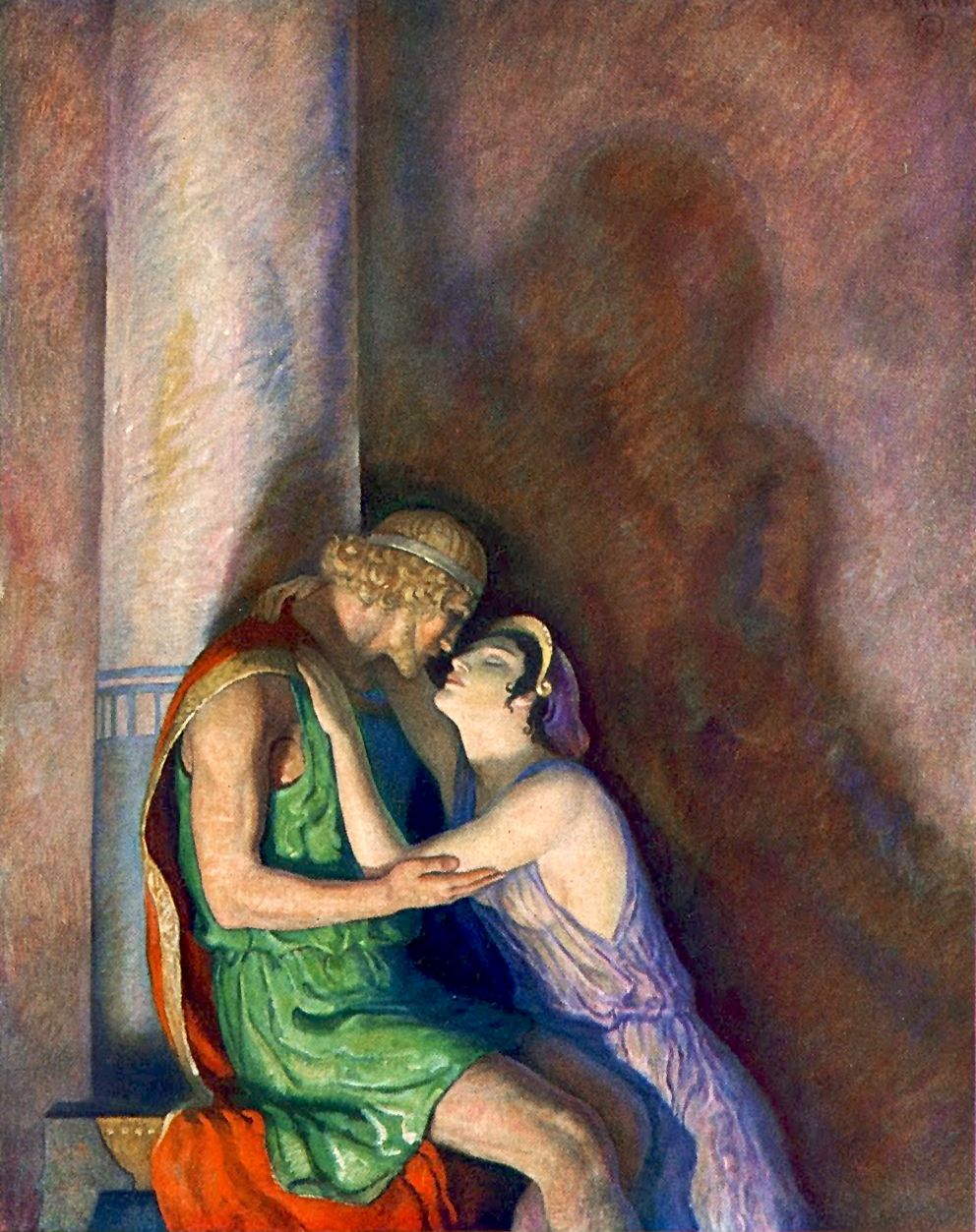 """Odysseus and Penelope reunited. Illustration by N. C. Wyeth from """"The Odyssey of Homer"""" (1929)"""