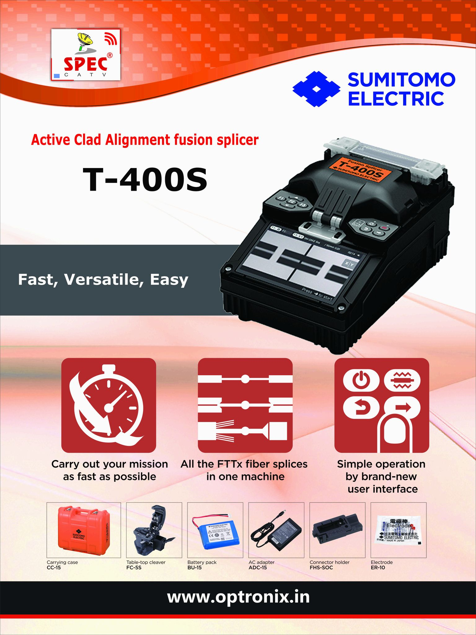 World Class brand T400S Fusion Splicer in India - Candid Optronix