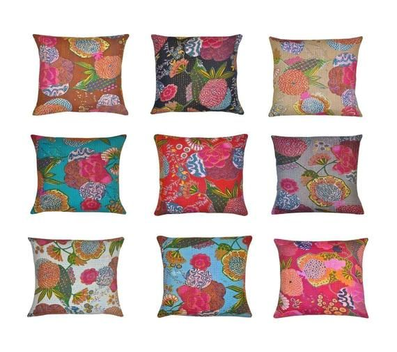 Assorted set of 5 kantha throw pillows Indian Decorative Floor Cushions for Couch Boho Patio Chair P