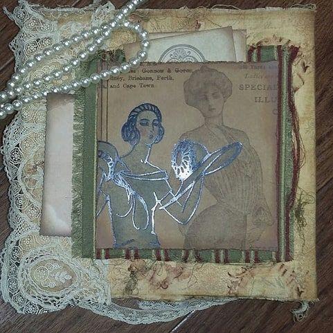 Coco Chanel journal.. #mixedmedia #mixedmediajournal #mixedmediaart #handmadejournal #handmadebooks #handmadewithlove #cocochanel ##paperartist #sewingproject #seamstress #journal #journaling #romance #instaartwork #instaartwork #instaart #artshare ##dailyart #artlife #crafts #junkjournals #mycreativebiz
