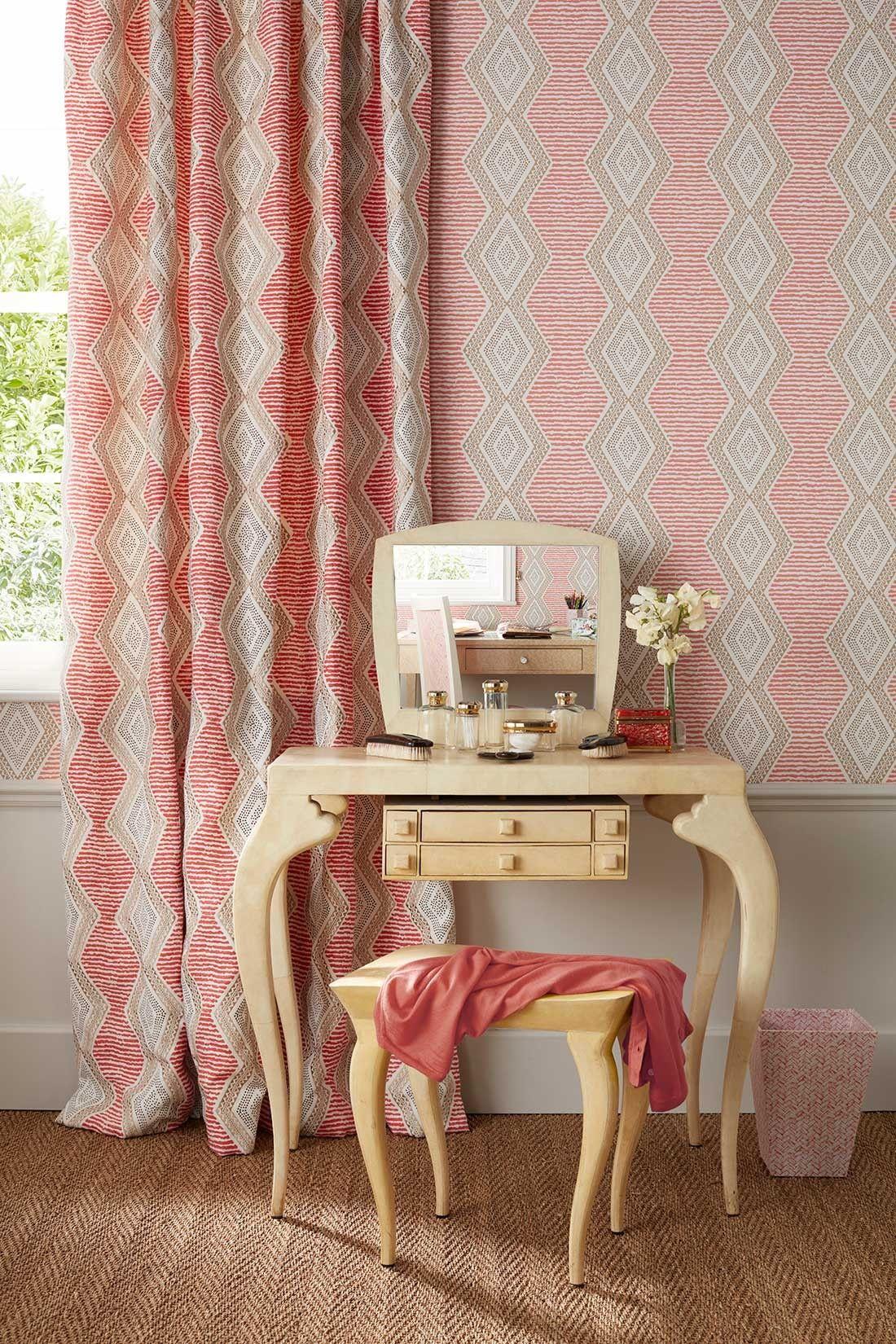 Belle Île Nina Campbell Pink interiors design, Beige