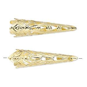 6 Copper Plated Brass 35x9mm Filigree Cone Bead Caps to Fit 8mm Beads
