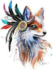 In nature spectrum- signierter Kunst Druck Fuchs Wolf