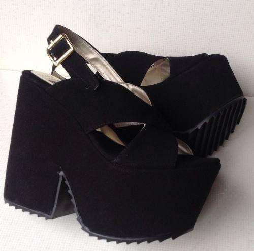 a4195c6cfc9 Zapatos Y Sandalias Con Plataforma De Cuero Gamuzado -   365