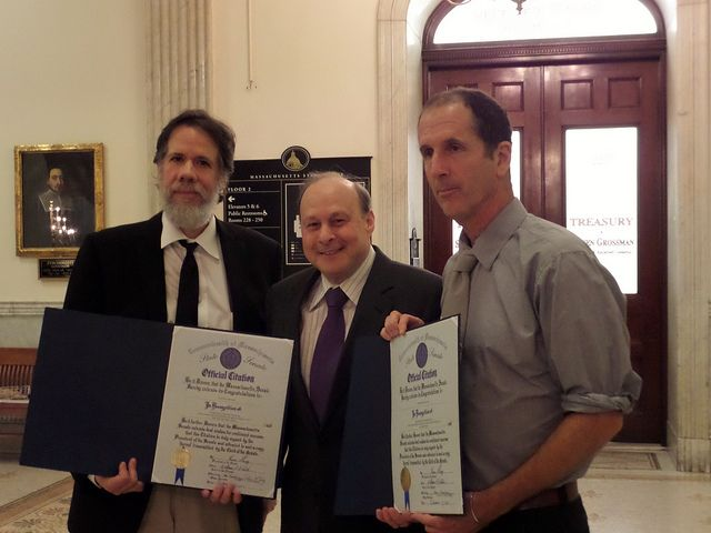 """State Senator Stan Rosenberg with award winners (l to r) Martin Espada, author of """"the Trouble Ball"""" and George Howe Colt, author of """"Brothe..."""