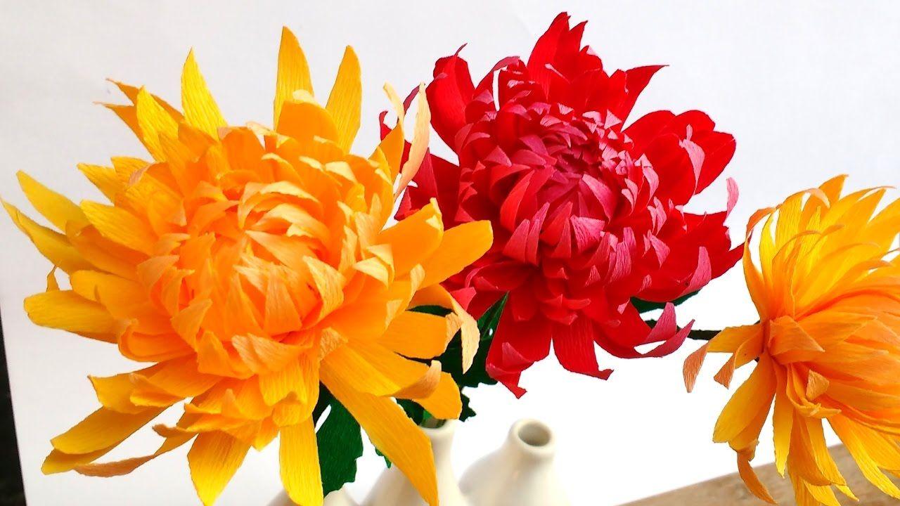 Easy Paper flowers Chrysanthemum  Mums flower    Crepe paper
