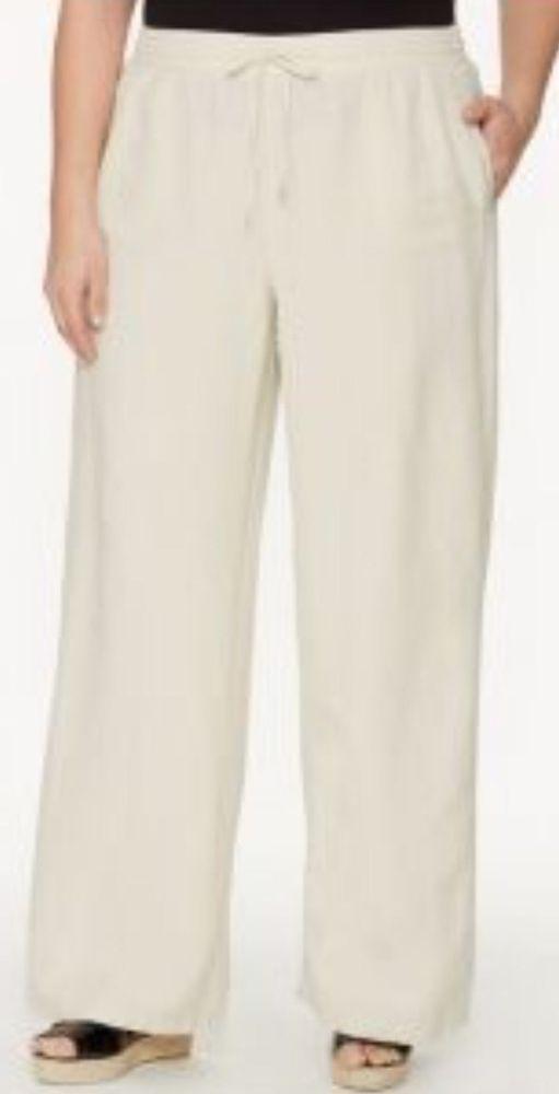 lane bryant wide leg linen pants - beige - plus size 22