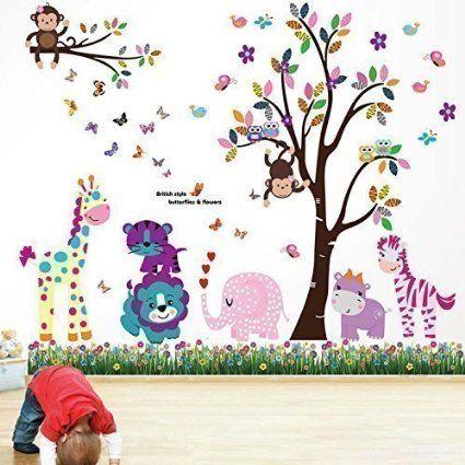 walsplus wand sticker aufkleber papier kunst dekoration fröhliche ... - Kinderzimmer Deko Tiere