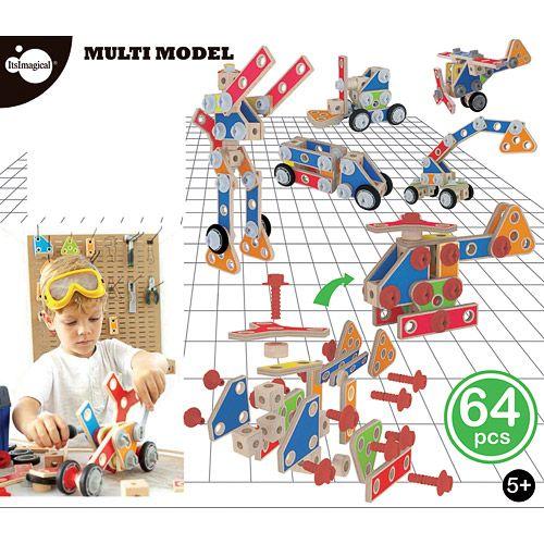 Set de 64 piezas de construcción de madera