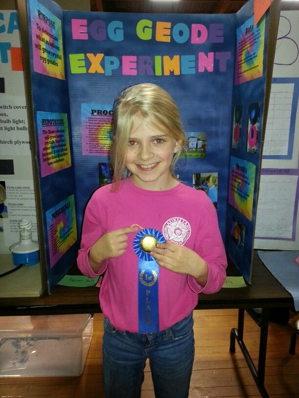 Proud Student Egg Geode Experiment First Place Prize Third Grade Science Fair Science Fair Science Fair Projects Third Grade Science