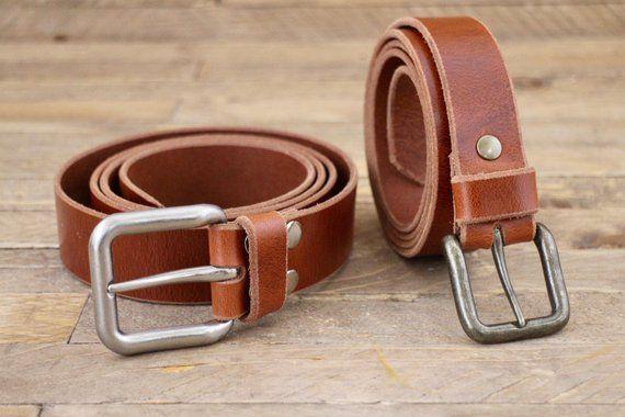 Handmade Full Grain Brown Genuine Leather Belt Antique Brass Nickel Buckle