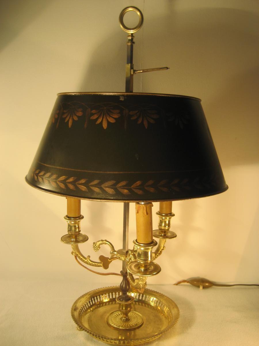 Lampe Bouillotte Xixeme Abat Jour Tole Bronze Dore 3 Bras