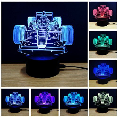 3d Illusion Lamp Race Cars Night Light 7 Colors Glows With Smart Touch Switch Usb Cable White 3d Illusion Lamp Decorative Night Lights Night Light