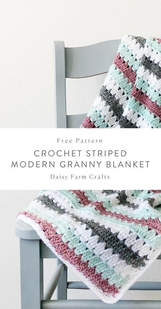 Free Pattern - Crochet Striped Modern Granny Blanket #crochet ...