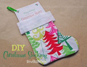 Diy cloth stocking christmas party invitations with printable make your own super cute invitations or christmas cards with our christmas party invitation stocking template diy solutioingenieria Image collections