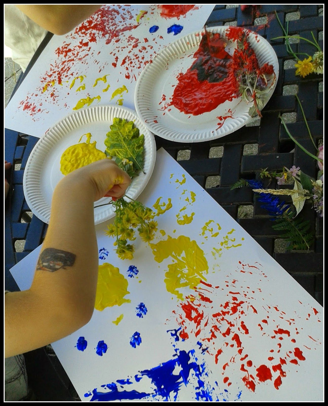 Nature walk painting with flowers