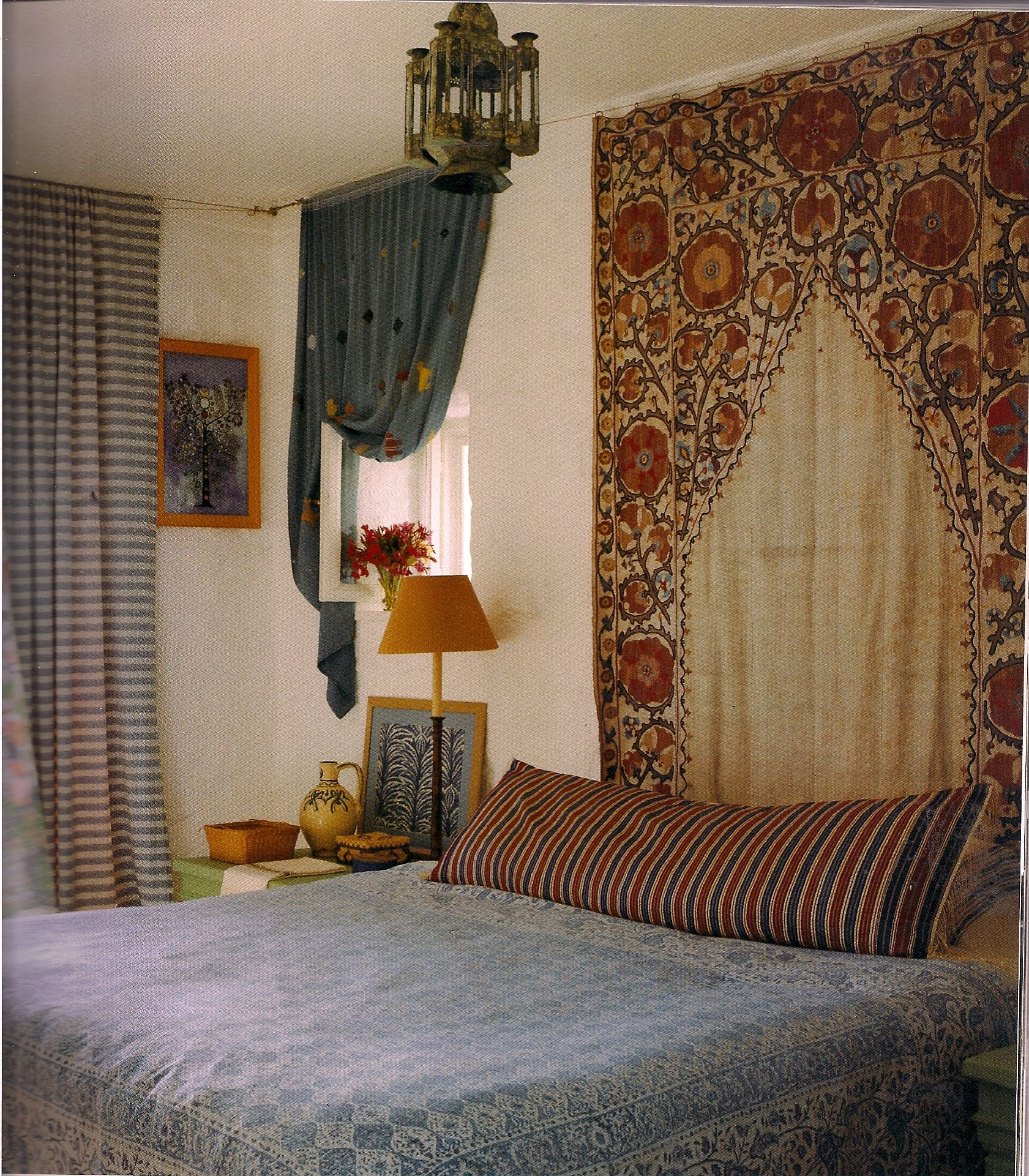 My favorite bedroom in the world Turkish Bedroom Mixing Patterns Blue and White Ethnic