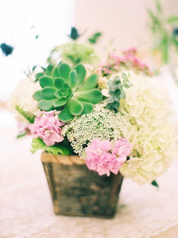 succulent and flowers centerpiece