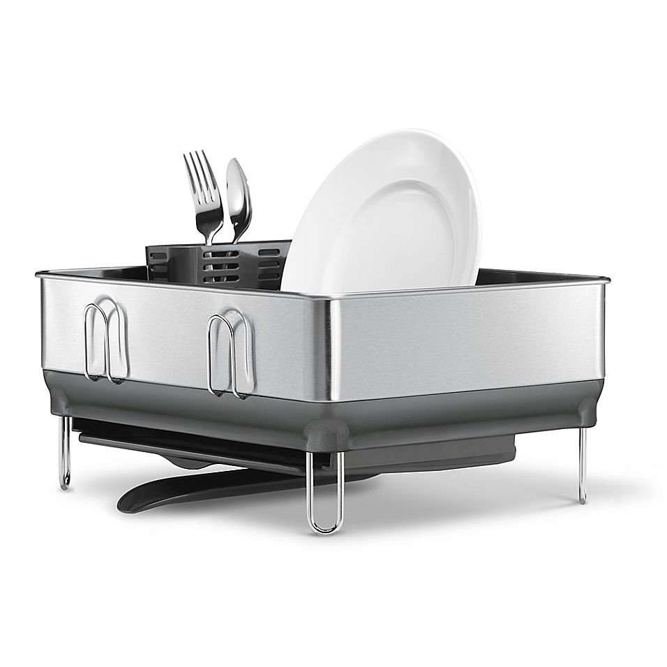 Simplehuman Compact Steel Frame Dish Rack In Grey Stainless Steel