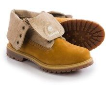 Timberland Earthkeepers Authentic Canvas Fold-Down Boots - Nubuck (For Women)  in Wheat