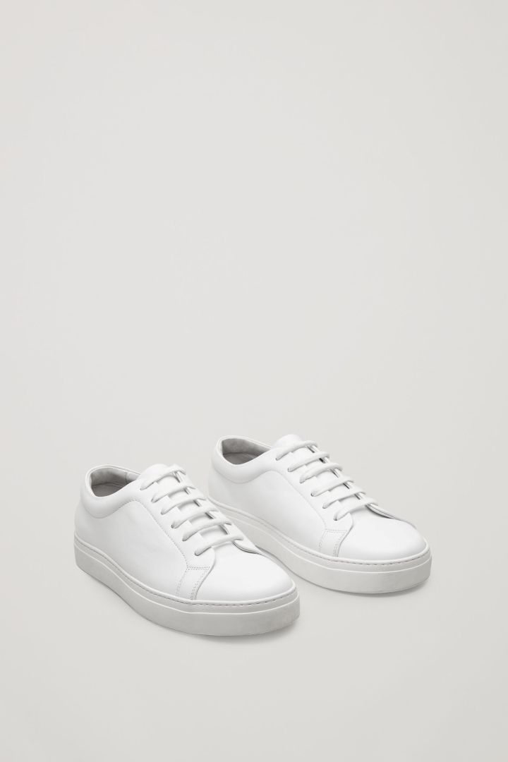 premium selection cc6eb 056f5 COS image 2 of Lace-up leather sneakers in White