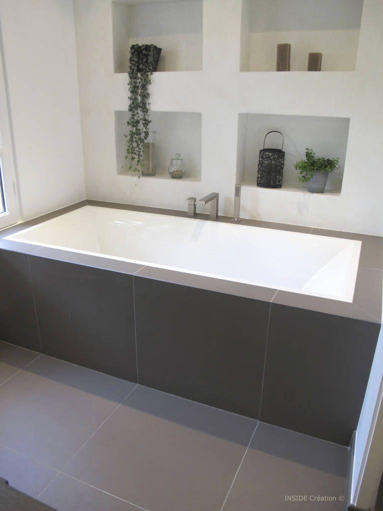 Niche En Beton Cire Blanc Salle De Bains De Style Par Inside