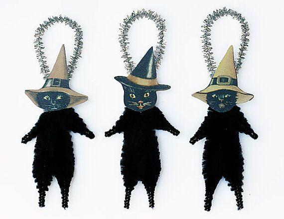 BlackCat #Ornaments #Halloween Decor Black by oldworldprimitives - halloween decor images
