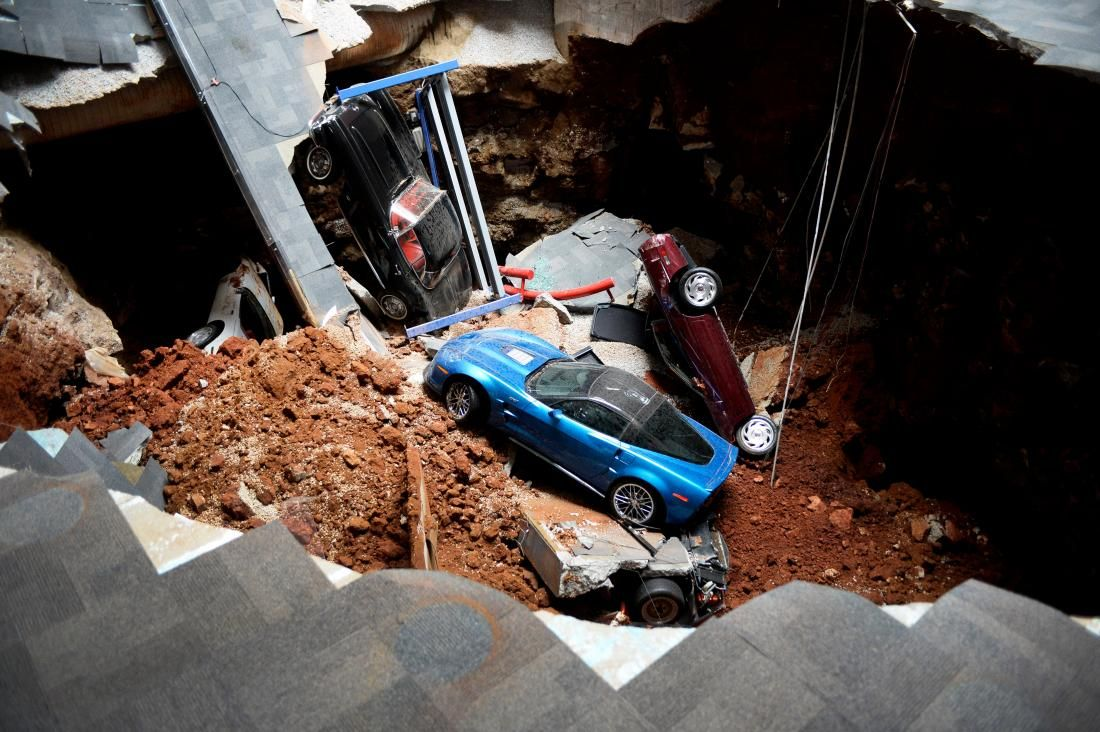 The Destruction of 8 Priceless Collectible Corvettes and The Sinkhole That…