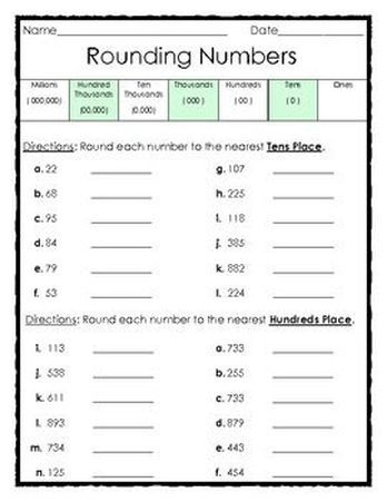 Free Rounding Numbers To The Tens And Hundreds Places This