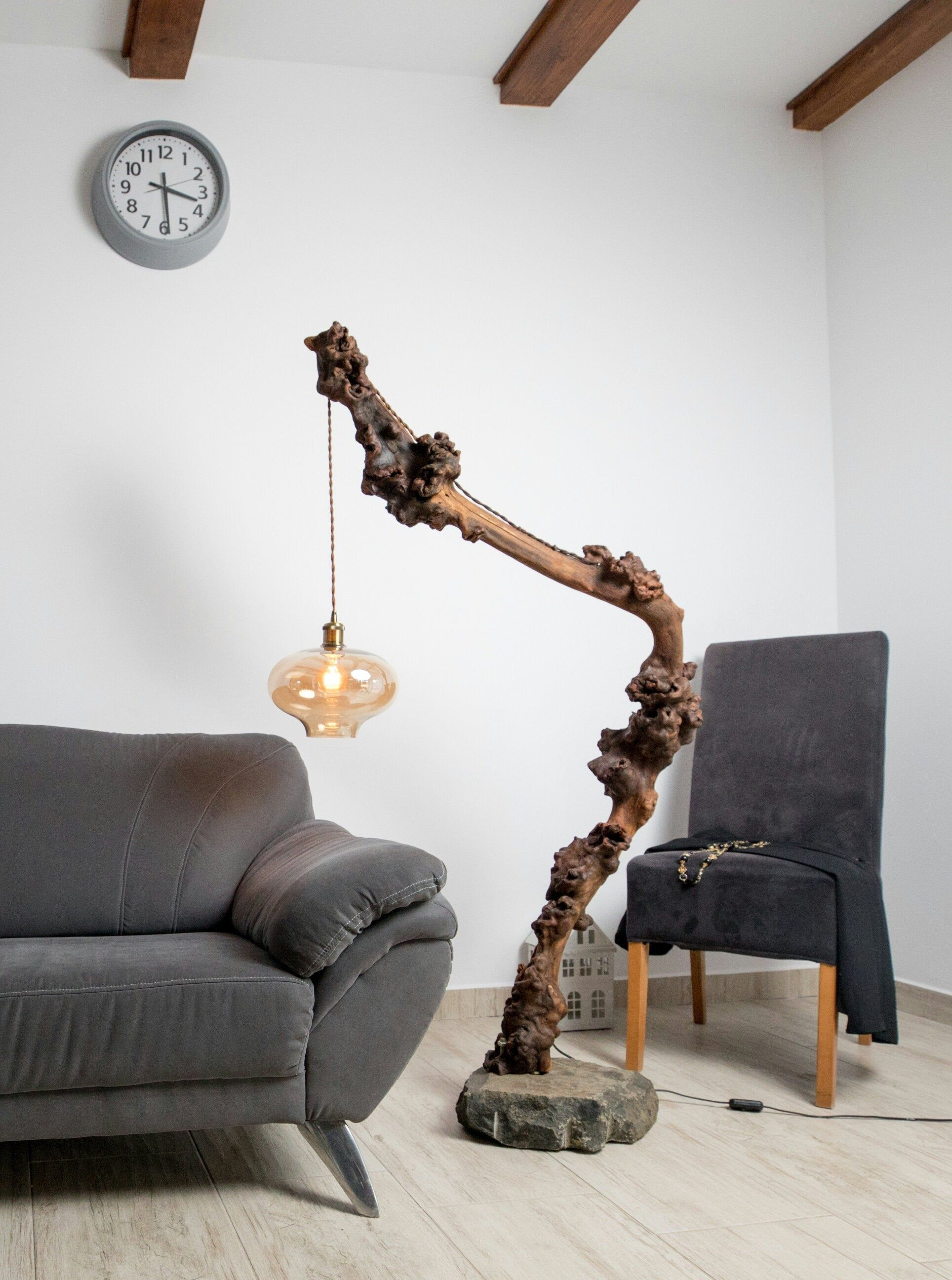 Floor Lamp Wood Lighting Rustic Lighting Wild Wood Lamp Living Room Lamp Modern Decor
