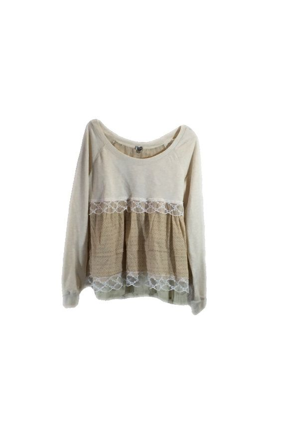 Large Xlarge Upcycled Tunic / Boho Tunic / Upcycled  Clothing / L Xl Tunic  /  Tan /Cream Patchwork Top / Recycled Clothing / Tattered FX